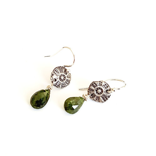 Stamp Dangle Earrings with Gem Beads
