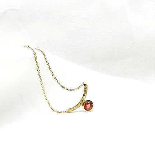 Simple Curve with Bezel Pendant in 14k Yellow Gold
