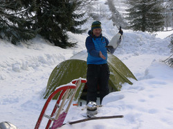 Campeur en hiver aux Lanchettes
