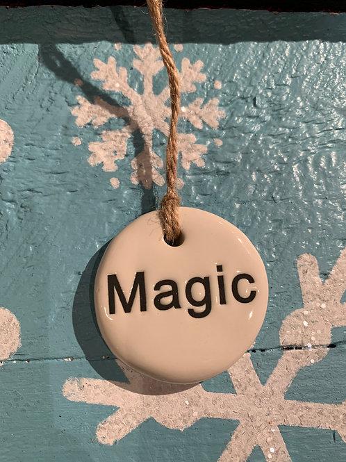 Stoneware Tag Ornament w/ Holiday Word