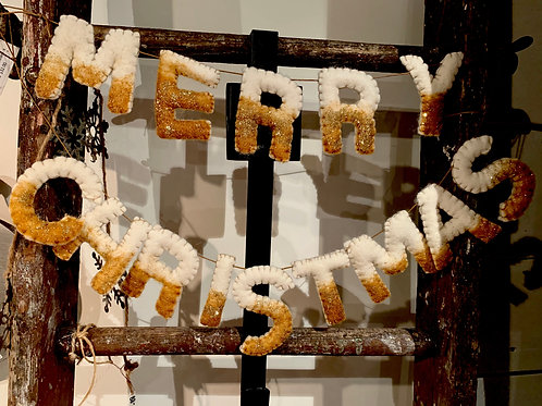 """Gold/Silver """"Merry Christmas"""" Banner"""