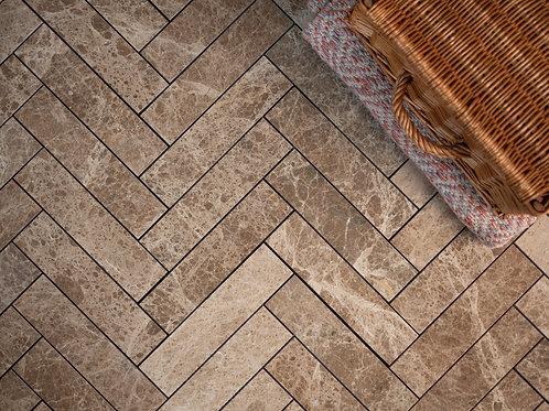 Emperador Marble Herringbone Tiles