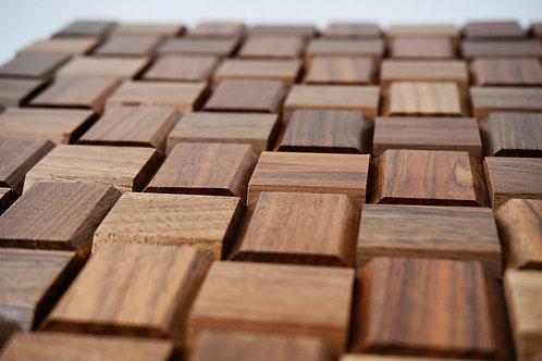 Wooden Flat Basketweave Mosaic Tiles