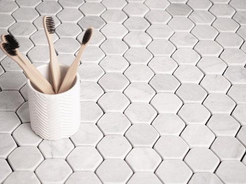 Calacatta Tumbled Hexagon Marble Tiles