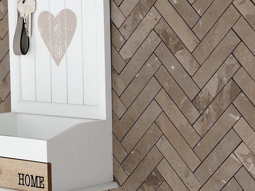 Marble Mosaic Herringbone Marqueen Brown Marble Mosaic Tile per SQM