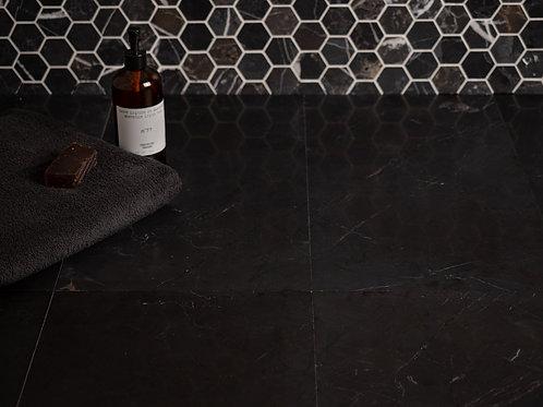 Deep Black Honed Marble Tiles