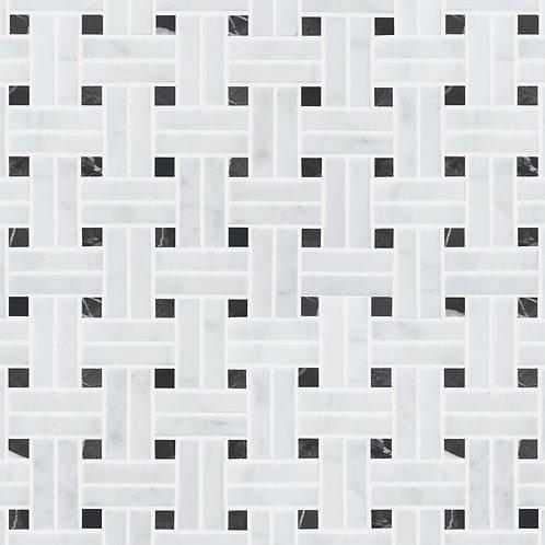 White Marble Basket Weave Mosaic