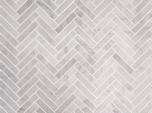 white marble tiles