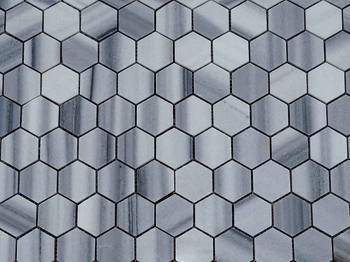 Hexagon Grey Marble Mosaic Tiles