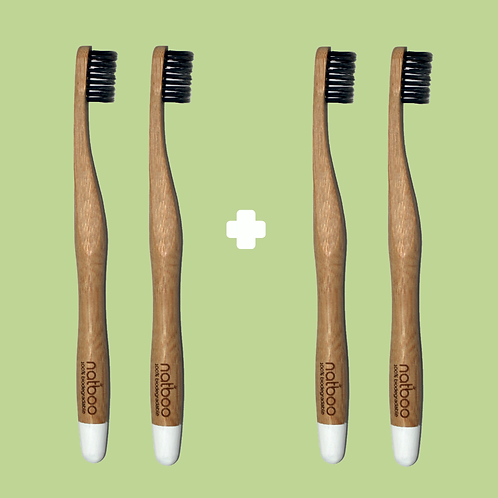 4 Natboo Toothbrushes. White + (another color)