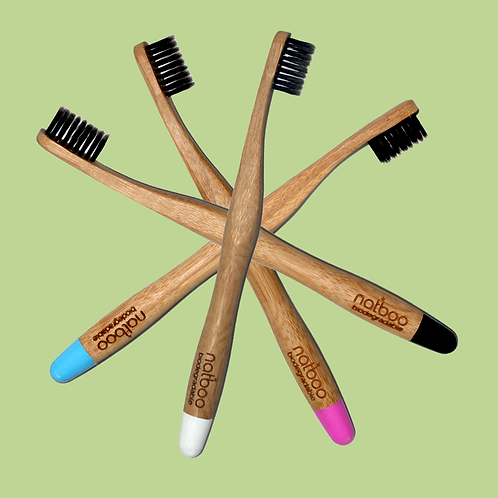 4 Natboo Toothbrushes. One of Each Color