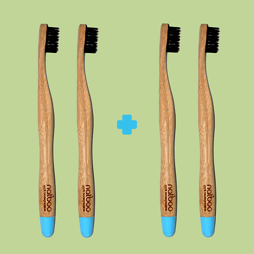 4 Natboo Toothbrushes. Blue + (another color)
