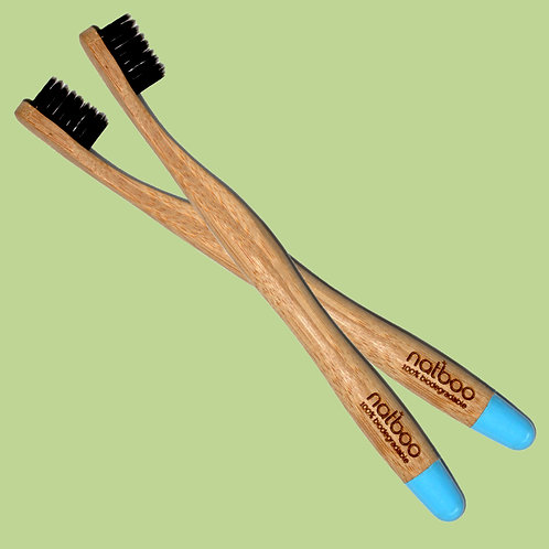 2 Natboo Toothbrushes. Blue + (another color)
