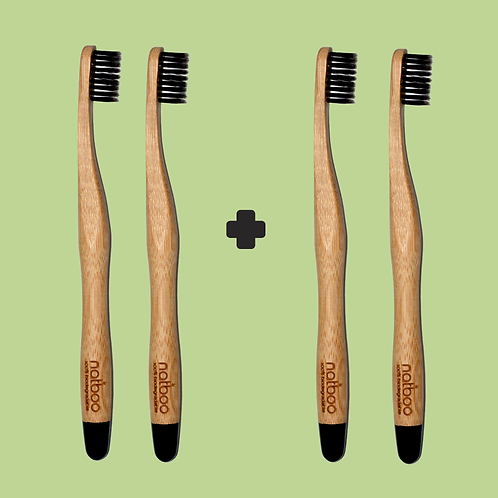4 Natboo Toothbrushes. Black + (another color)