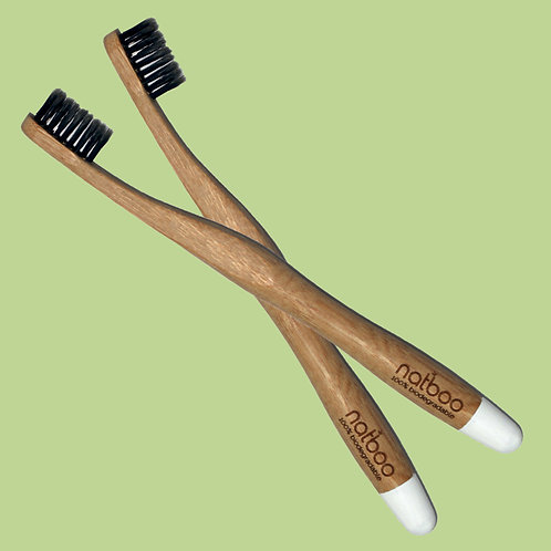 2 Natboo Toothbrushes. White + (another color)