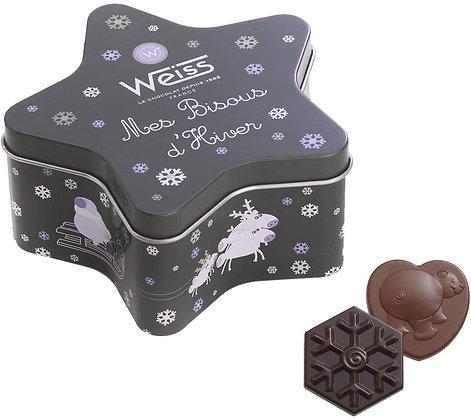 Coffret Bisous d'Hiver, chocolat noir et lait - 250g