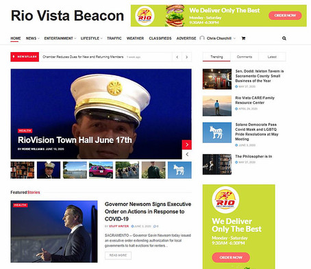 Our newest client, the Rio Vista Beacon. Thank you, Fritz Rollins, for building such an amazing site