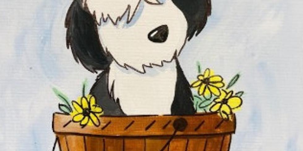 Puppy in a Barrel (Acrylic on Canvas)
