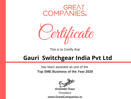 Gauri  Switchgear India Pvt Ltd, Great Companies SME Business of the Year Award Winner 2020