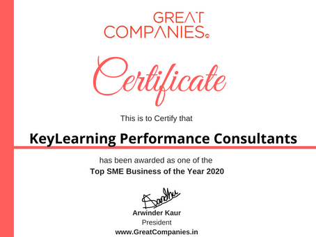 KeyLearning Performance Consultants, Great Companies SME Business of the Year Award Winner 2020