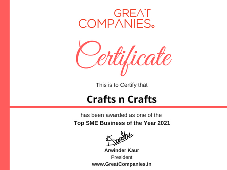 Crafts n Crafts, Great Companies SME Business of the Year Award Winner 2021