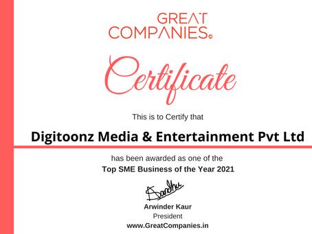 Digitoonz Media & Entertainment Pvt Ltd, Great Companies SME Business of the Year Award Winner 2021