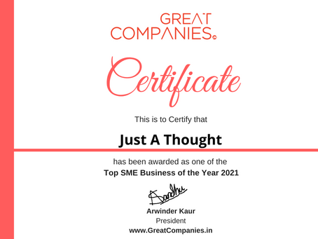 Just A Thought, Great Companies SME Business of the Year Award Winner 2021