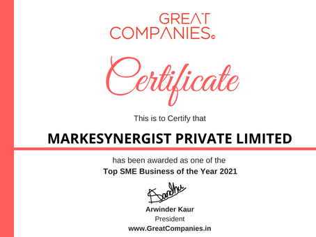 MARKESYNERGIST PRIVATE LIMITED, Great Companies SME Business of the Year Award Winner 2021
