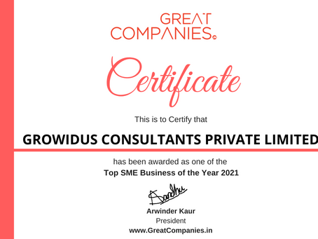 GROWIDUS CONSULTANTS PRIVATE LIMITED, Great Companies SME Business of the Year Award Winner 2021