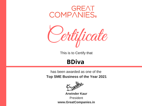BDiva, Great Companies SME Business of the Year Award Winner 2021