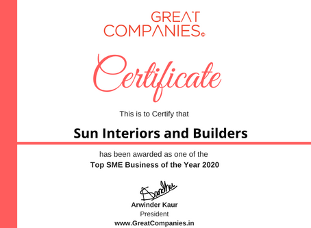 Sun Interiors and Builders, Great Companies SME Business of the Year Award Winner 2020