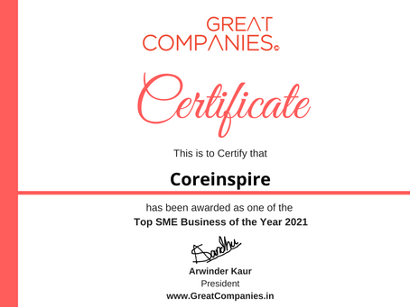 Coreinspire, Great Companies SME Business of the Year Award Winner 2021