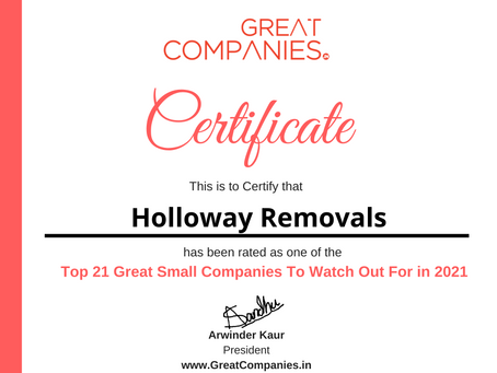 Holloway Removals - Great Small Companies To Watch Out For in 2021