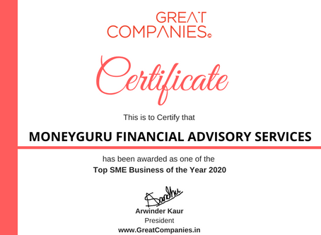 MONEYGURU FINANCIAL ADVISORY SERVICES, Great Companies SME Business of the Year Award Winner 2020