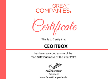 CEOITBOX, Great Companies SME Business of the Year Award Winner 2020