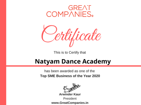 Natyam Dance Academy, Great Companies SME Business of the Year Award Winner 2020