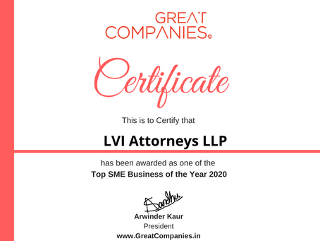 LVI Attorneys LLP, Great Companies SME Business of the Year Award Winner 2020