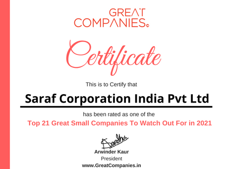 Saraf Corporation India Pvt Ltd - Great Small Companies To Watch Out For in 2021