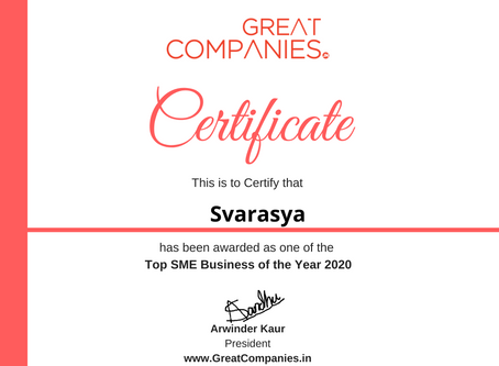 Svarasya, Great Companies SME Business of the Year Award Winner 2020