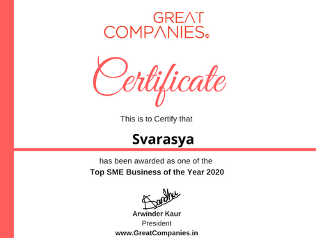 Svarasya, Great Companies SME Business of the Year Award Winner 2020