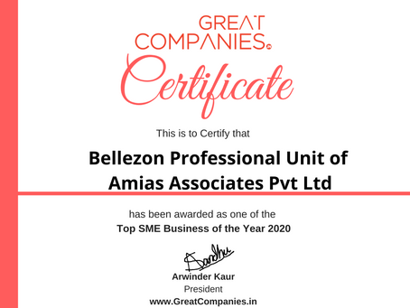 Bellezon Professional,  Great Companies SME Business of the Year Award Winner 2020