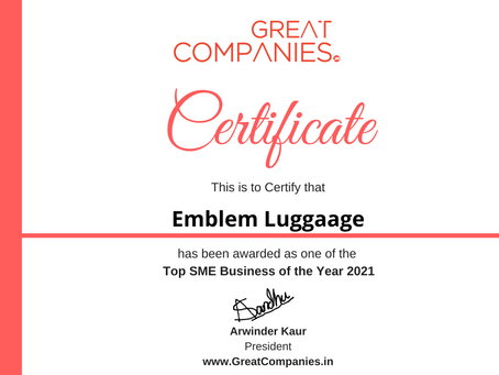 Emblem Luggaage, Great Companies SME Business of the Year Award Winner 2021