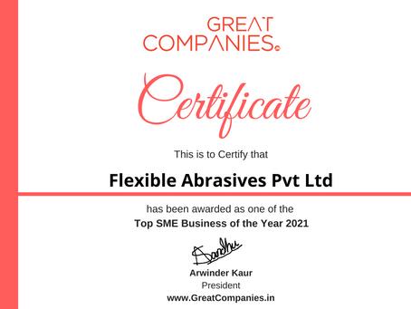 Flexible Abrasives Pvt Ltd, Great Companies SME Business of the Year Award Winner 2021