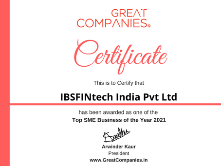 IBSFINtech India Pvt Ltd, Great Companies SME Business of the Year Award Winner 2021