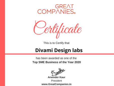 Divami Design Labs, Great Companies SME Business of the Year Award Winner 2020