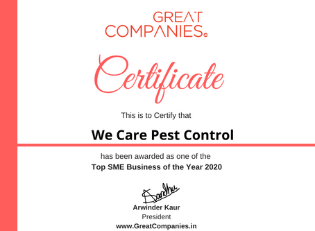 We Care Pest Control​, Great Companies SME Business of the Year Award Winner 2020