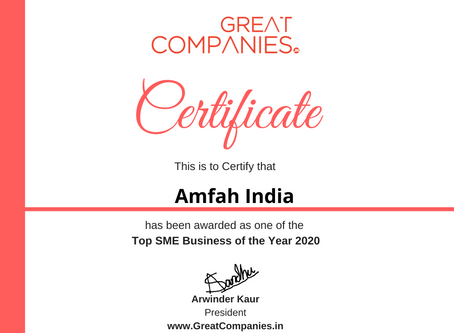 Amfah India, Great Companies SME Business of the Year Award Winner 2020