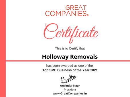 Holloway Removals, Great Companies SME Business of the Year Award Winner 2021