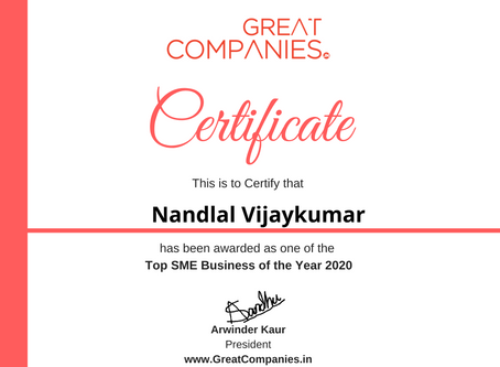 Nandlal Vijaykumar, Great Companies SME Business of the Year Award Winner 2020
