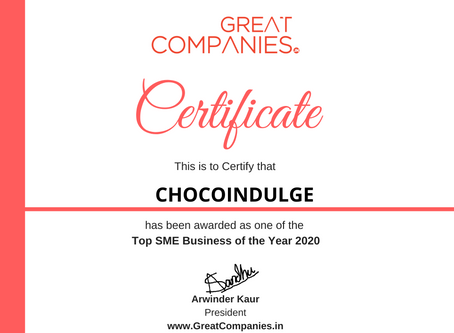CHOCOINDULGE, Great Companies SME Business of the Year Award Winner 2020